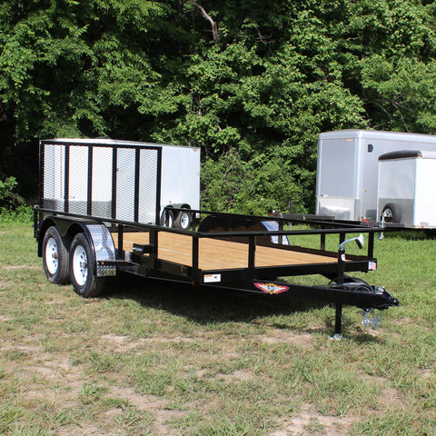 HH TRAILERS 76X14 Tandem Axle Utility Trailer Tubular Rail Sides Tubular Rear Gate Radials +DUAL BRAKE AXLES - Haul Supply