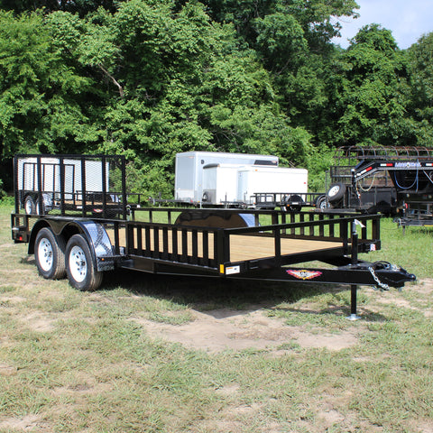 82X16 Tandem Axle Rail Side ATV/Utility Rear Drop Gate & Side Rail Ramps Radial Tires