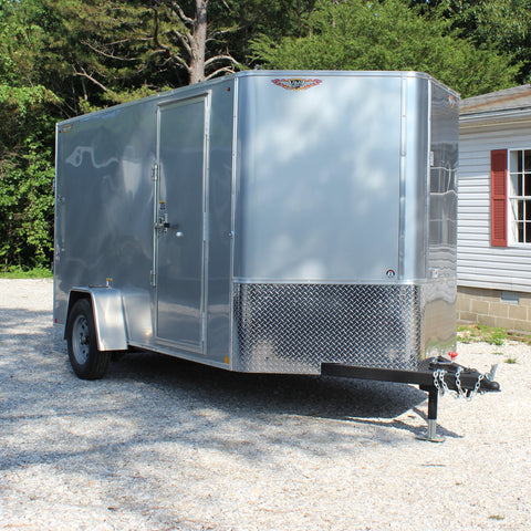 HH TRAILERS 6X12 Single Axle V-Nose Cargo Trailer Rear Ramp Rivetless Radial Tires and LED Lights - Haul Supply
