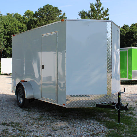 "SPARTAN 6X12 Single Axle V-Nose Cargo Trailer 78"" Interior Rear Ramp Radial Tires and LED Lights - Haul Supply"