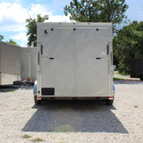 "7X14 Tandem Axle Slanted V-Nose Cargo Trailer 78"" Interior Rear Ramp Radial Tires and LED Lights"