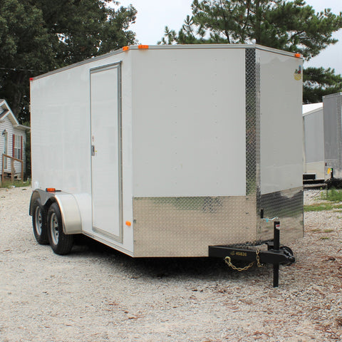 "7X14 Tandem Axle V-Nose Cargo Trailer 78"" Interior Double Doors and Radial Tires"