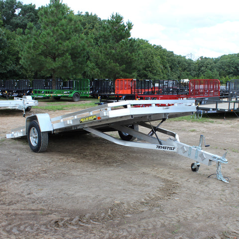 78X14 Single Axle Aluminum Tilt Deck Utility Trailer Radial Tires and LED Lights