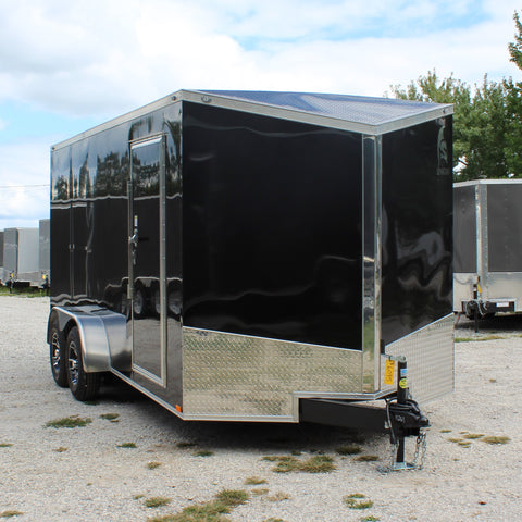 "7X16 Tandem Axle Slanted V-Nose Blackout Cargo Trailer 78"" Interior Rear Ramp Radial Tires and LED Lights"