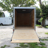 "7X16 Tandem Axle V-Nose Cargo Trailer 84"" Interior Rear Ramp Radial Tires and LED Lights"