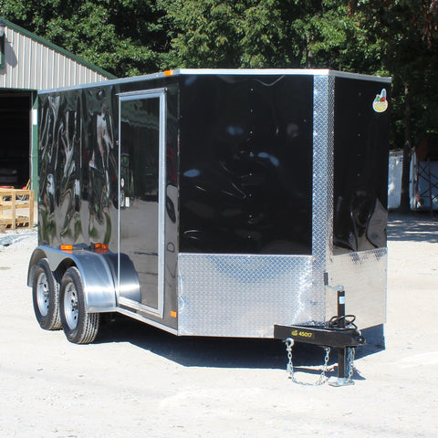 COVERED WAGON TRAILERS 6X12 Tandem Axle V-Nose Enclosed Cargo Trailer Rear Ramp and Radial Tires - Haul Supply