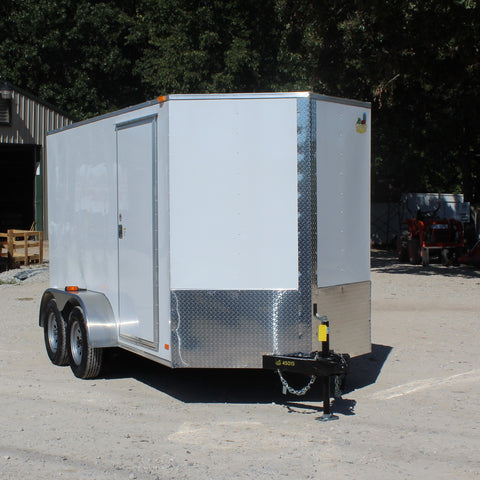 "COVERED WAGON TRAILERS 6X12 Tandem Axle V-Nose Enclosed Cargo Trailer 78"" Interior Rear Ramp and Radial Tires - Haul Supply"