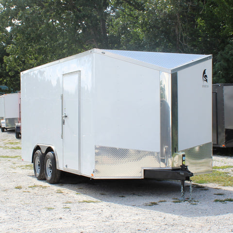 "8.5X16 Tandem Axle Slanted V-Nose Cargo Trailer 84"" Interior Rear Ramp Radial Tires and LED Lights"