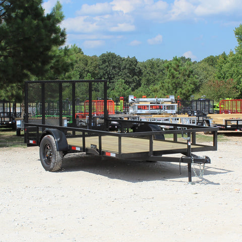 76X12 Single Axle Utility Trailer Drop Gate Radial Tires and LED Lights