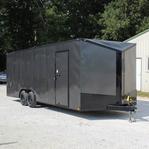 "8.5X24 Tandem Axle V-Nose Cargo Trailer 84"" Interior Rear Ramp Radials and LED Lights"