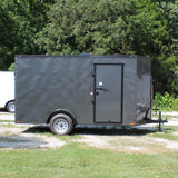 "6X12 Single Axle V-Nose Cargo Trailer 78"" Interior Rear Ramp Radial Tires and LED Lights"