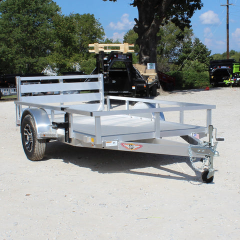 H&H TRAILERS 66X10 Single Axle Aluminum Utility Trailer Bi-Fold Gate Radial Tires and LED Lights - Haul Supply