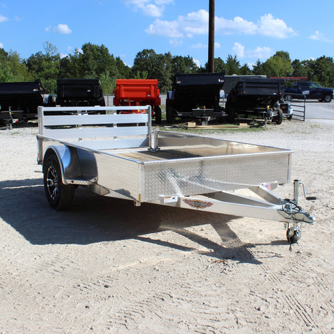 H&H TRAILERS 76X10 Single Axle Aluminum Utility Trailer Bi-Fold Gate Radial Tires and LED Lights - Haul Supply