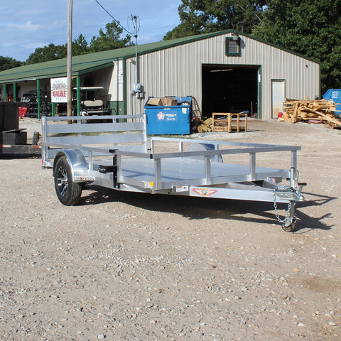 H&H TRAILERS 76X12 Single Axle Aluminum Utility Trailer Bi-Fold Gate Radial Tires and LED Lights - Haul Supply