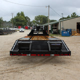 LOAD TRAIL 102X30 Tandem Axle Gooseneck Flat Bed Trailer Flip Over Ramps Dovetail Radials and LED Lights - Haul Supply