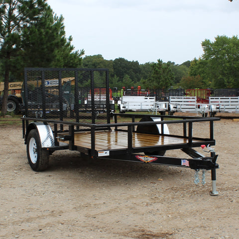 H&H TRAILERS 76X10 Single Axle Utility Trailer 4' Rear Gate Radial Tires and LED Lights - Haul Supply