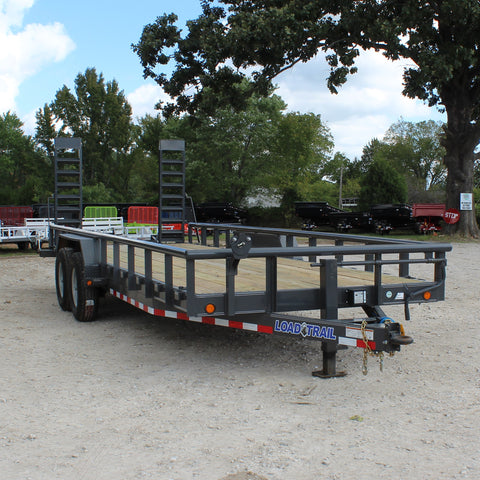 83X22 Tandem Axle Equipment Trailer Fold Up Ramps Pipe Top Rails Radial Tires and LED Lights