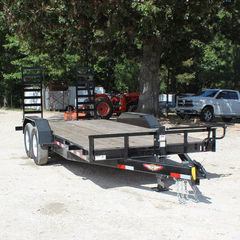 82X18 Tandem Axle Equipment Trailer Fold Up Ramps Radial Tires and LED Lights