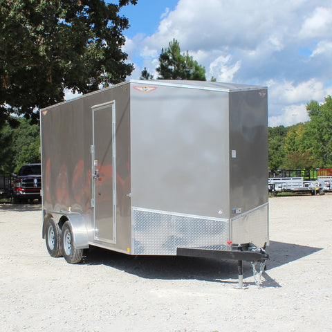 "7X14 Tandem Axle Slant V-Nose Cargo Trailer 84"" Interior Rear Ramp Radial Tires and LED Lights"