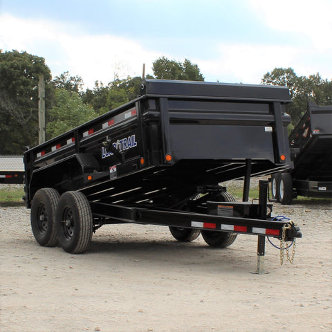 LOAD TRAIL 72X12 Tandem Axle Dump Trailer 3-Way Rear Gate with Slide Out Ramps Radials and LED Lights - Haul Supply