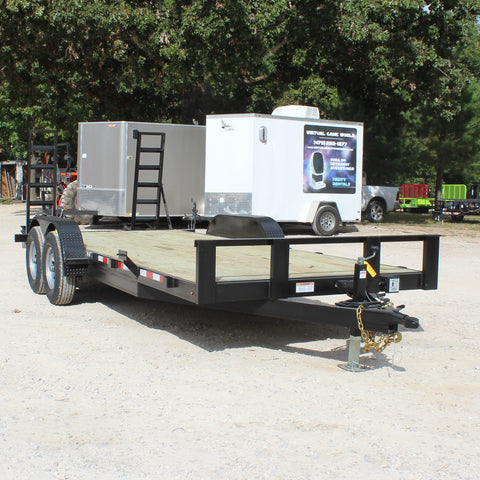 82X20 Tandem Axle 12K Equipment Trailer Fold Up Ramps Radial Tires and LED Lights