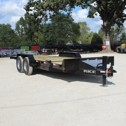 SOLD -  82X20 Tandem Axle Partial Tilt Deck Equipment Trailer Radial Tires and LED Lights