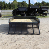 RICE TRAILERS 76X12 Single Axle Solid Sides Utility Trailer Drop Gate Radial Tires and LED Lights - Haul Supply