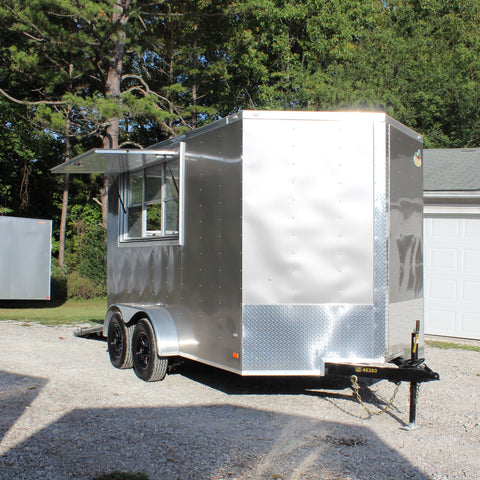 7X12 Tandem Axle V-Nose Vending Trailer Concession Window Electrical Insulation Vinyl Walls & Floor!