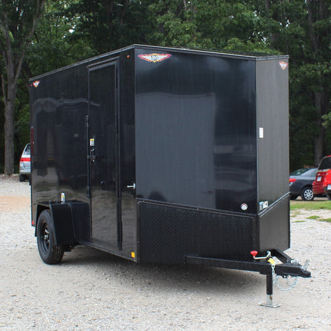 "HH TRAILERS 6X12 Single Axle Blackout Slant V-Nose Cargo Trailer 78"" Interior Rear Ramp Radial Tires and LED Lights - Haul Supply"