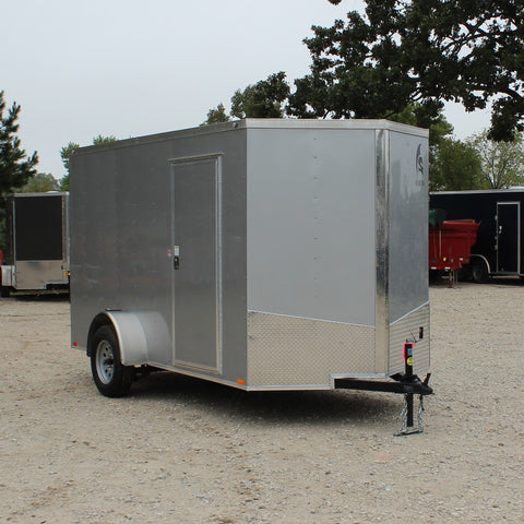 "SPARTAN 6X12 Single Axle V-Nose Enclosed Cargo Trailer Rear Ramp 78"" Interior Radials and LEDs - Haul Supply"