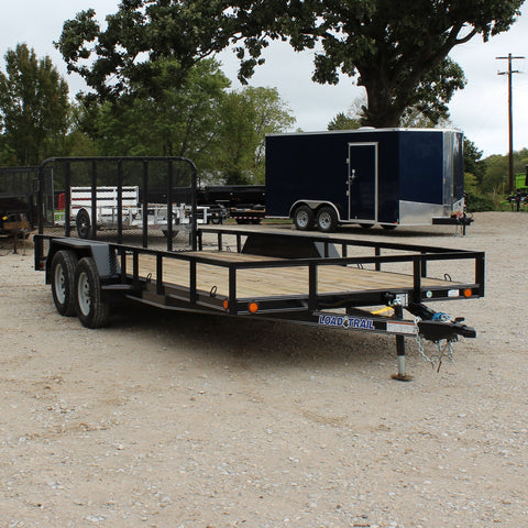 83X18 Tandem Axle Utility Trailer Fold Gate Dovetail Radial Tires and LED Lights