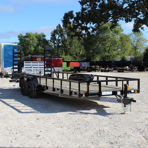 83X22 Tandem Axle Utility Trailer Fold Up Ramps Stabilizer Jacks Radial Tires and LED Lights