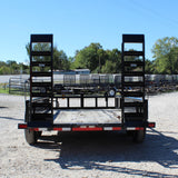 83X16 Tandem Axle Equipment Trailer Fold Up Ramps Radial Tires and LED Lights