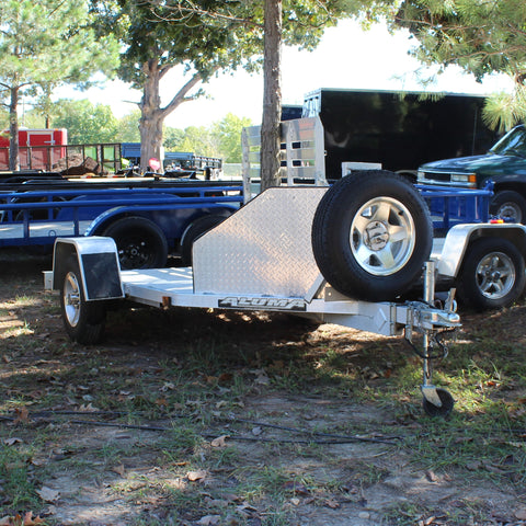 USED * 4X10 Single Axle Aluminum Motorcycle Trailer Slide Out Ramp Radial Tires and LED Lights