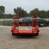 82X20 Tandem Axle Equipment Trailer Rear Stand Up Ramps
