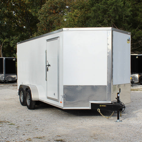 7X16 Tandem Axle V-Nose Enclosed Cargo Trailer Double Rear Doors Radials and LEDs