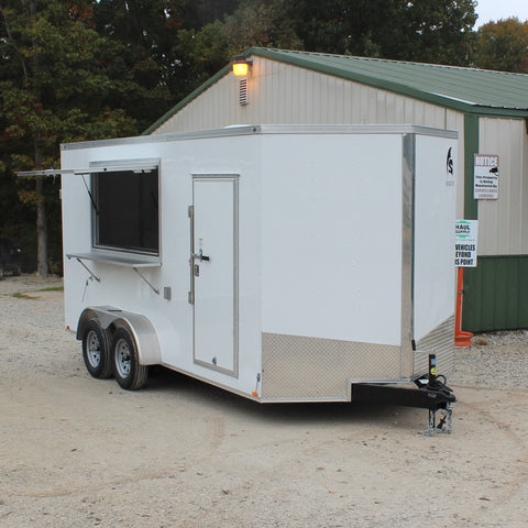 7X16 Tandem Axle V-Nose Concession Trailer Double Rear Doors Concession Window Radials and LEDs