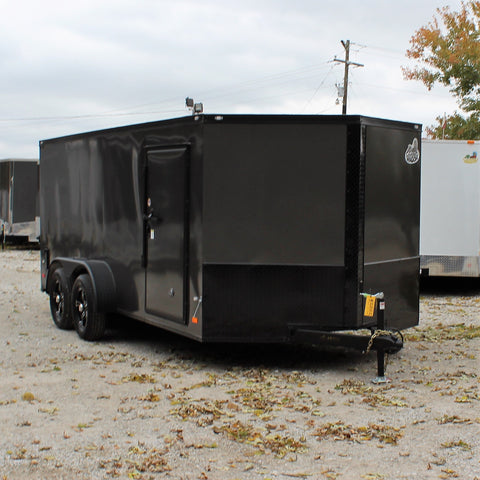 7X16 Enclosed Motorcycle Trailer Screwless Rear Ramp Radial Tires and LED Lights