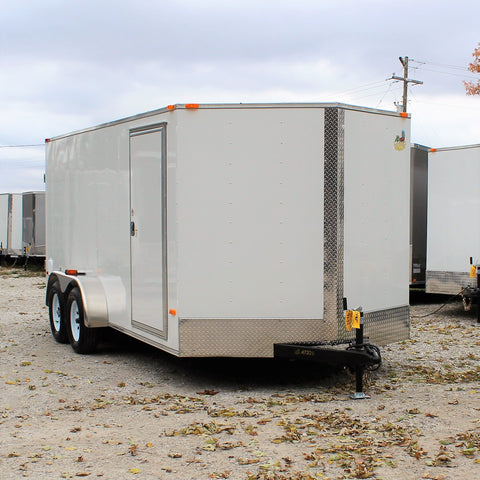 7X16 Tandem Axle V-Nose Enclosed Cargo Trailer Double Rear Doors and Radial Tires
