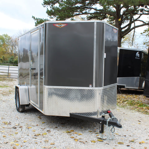 H&H TRAILERS 6X10 Single Axle V-Nose Cargo Trailer Screwless Rear Ramp Radial Tires and LED Lights - Haul Supply