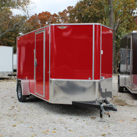 H&H TRAILERS 6X12 Single Axle V-Nose Enclosed Cargo Trailer Screwless Rear Ramp Radials and LED Lights - Haul Supply