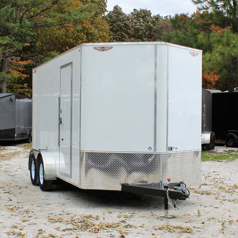 7X14 Tandem Axle V-Nose Enclosed Cargo Trailer Screwless Rear Ramp Radials and LED Lights