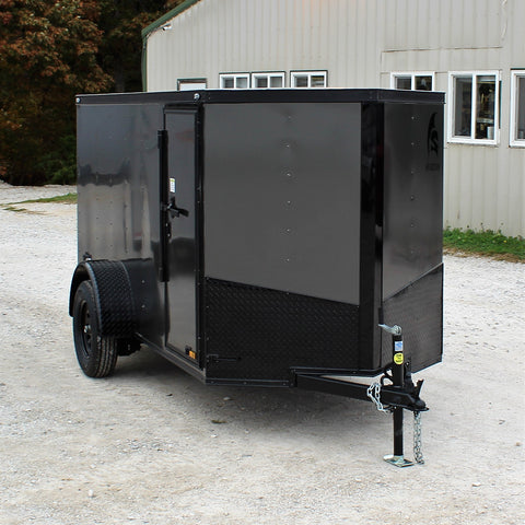 SPARTAN 5X10 Single Axle V-Nose Enclosed Cargo Trailer Rear Ramp Radial Tires and LED Lights - Haul Supply