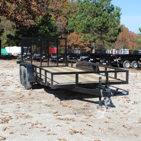 D&D 76X16 Tandem Axle Utility Trailer Rear Fold Gate Radial Tires and LED Lights - Haul Supply