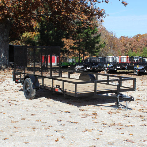 D&D 76X14 Single Axle Utility Trailer Rear Fold Gate Radial Tires and LED Lights - Haul Supply