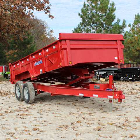 83X16 Tandem Axle Dump Trailer 3-Way Gate Slide-In Ramps Radial Tires and LED Lights