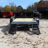 82X18 Tandem Axle Equipment Trailer Fold Up Ramps Dovetail Radial Tires and LED Lights