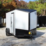 "SPARTAN 6X12 Single Axle V-Nose Enclosed Cargo Trailer 78"" Interior Rear Ramp Radials and LED Lights - Haul Supply"