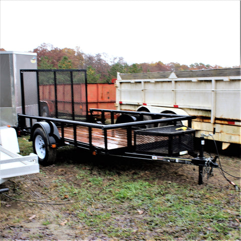 Used 5.5x10 Single Axle Utility with Pipe Top Sides and Rear Gate