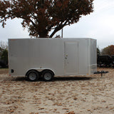 "7X16 Tandem Axle V-Nose Enclosed Cargo Trailer 84"" Interior Rear Ramp Radials and LEDs"